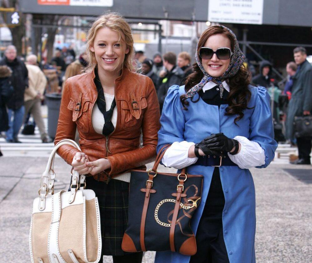 Blake Lively and Leighton Meester on location for