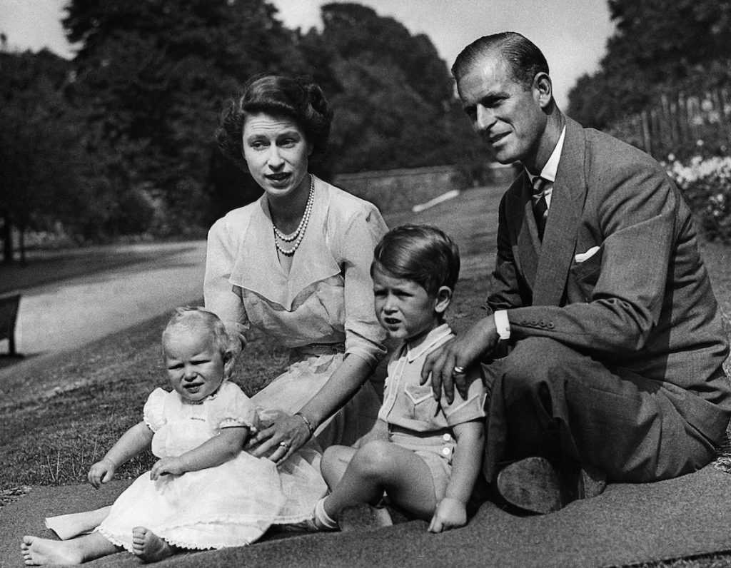Queen Elisabeth II, Prince Charles, Prince Philip, Princess Anne in 1953