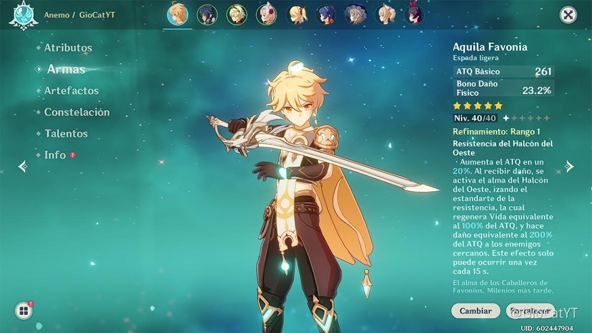 épées légères d'impact de genshin