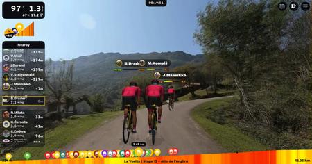 Image d'une simulation de course de l'application Rouvy.