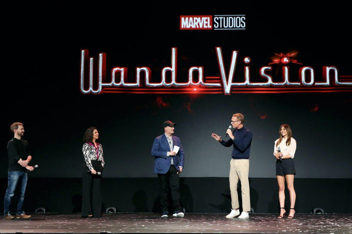 Matt Shakman and Jac Schaeffer, Kevin Feige, and Paul Bettany and Elizabeth Olsen