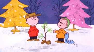 Charlie Brown and Linus with Christmas tree