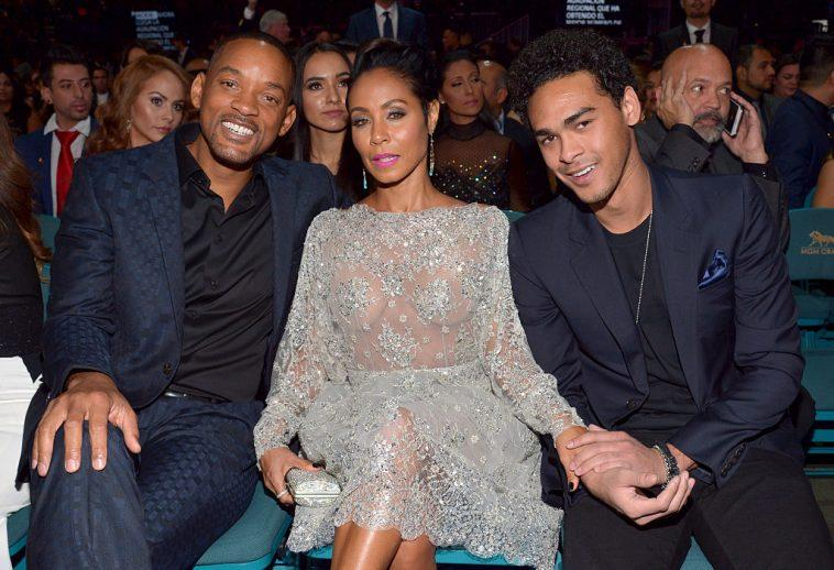 (L-R) Will Smith, Jada Pinkett Smith, and Trey Smith smiling