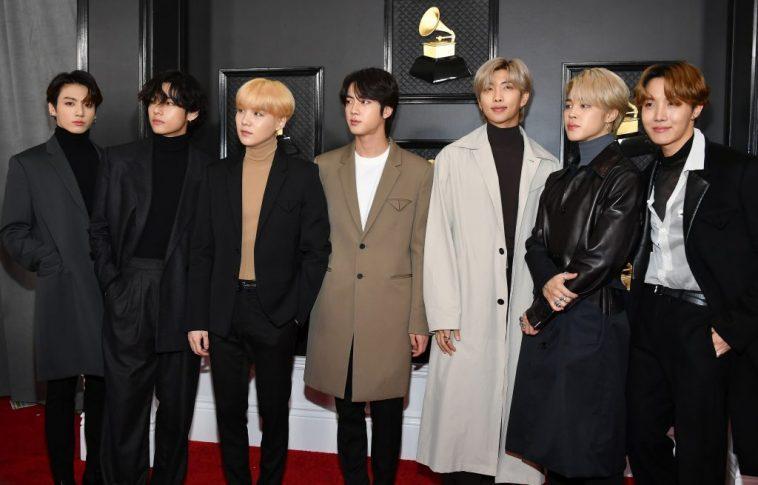 V, Suga, Jin, Jungkook, RM, Jimin, and J-Hope of musical group BTS