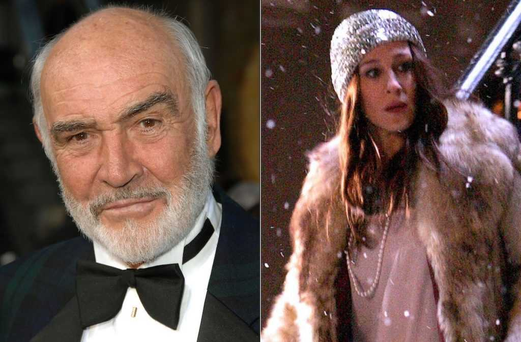 Sean Connery (à gauche) et Sarah Jessica Parker dans le rôle de Carrie Bradshaw dans «Sex and the City: The Movie» (à droite) |  Stephen Shugerman / Getty Images pour AFI / James Devaney / WireImage