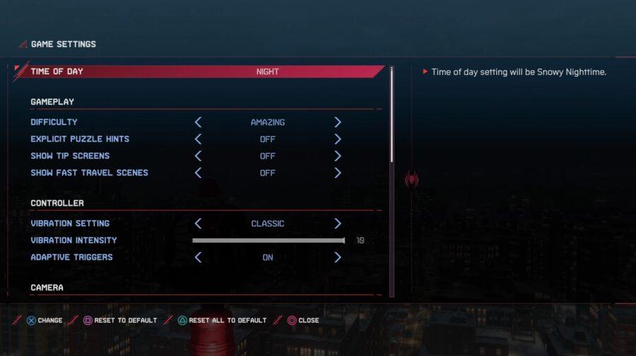 Une capture d'écran montrant comment changer l'heure de la journée dans Spider-Man: Miles Morales