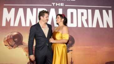 Pedro Pascal and Gina Carano arrive at the premiere of Lucasfilm