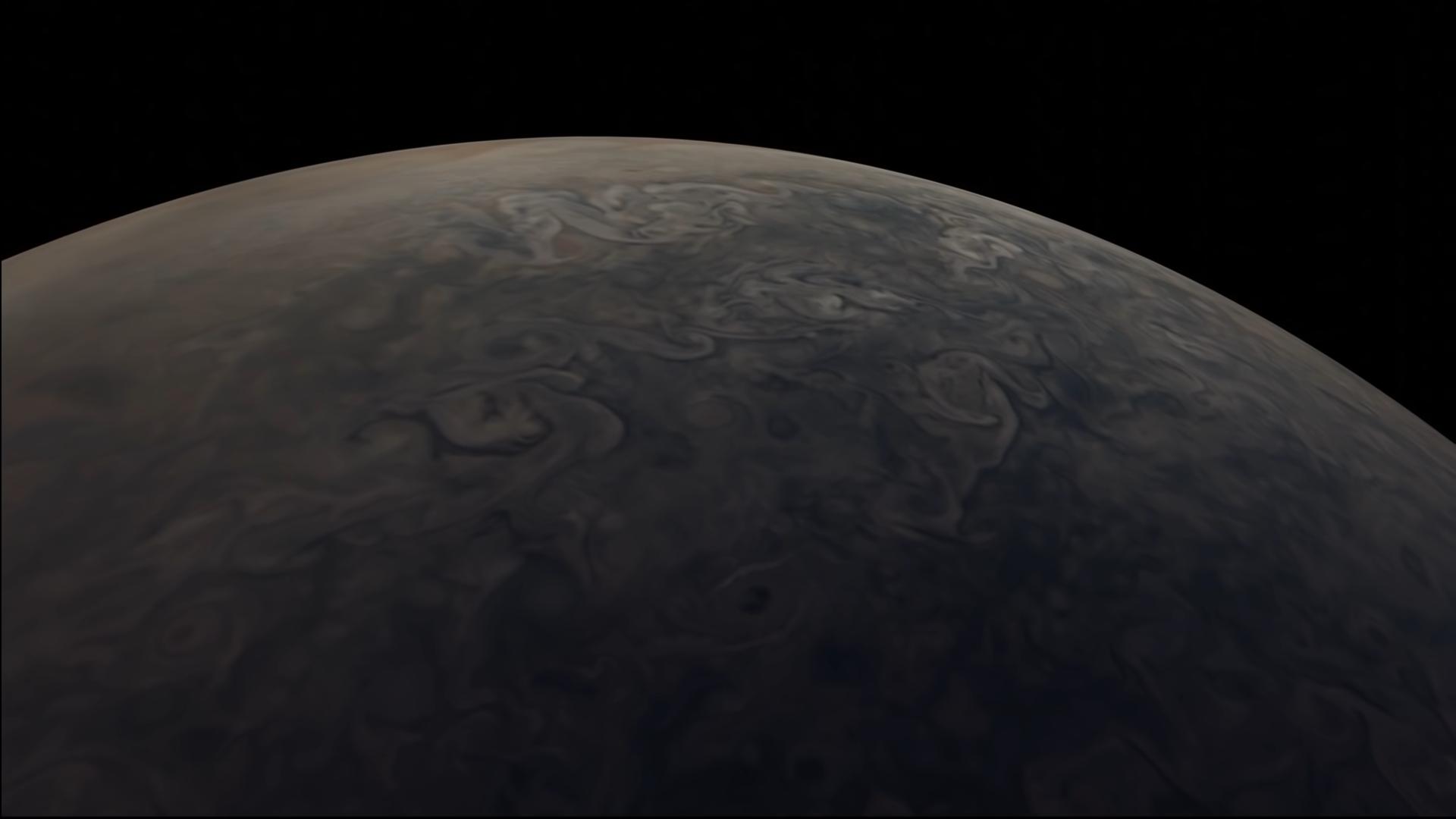La NASA a compilé des images tirées du vaisseau spatial Juno de l'agence pour recréer un survol de Jupiter.