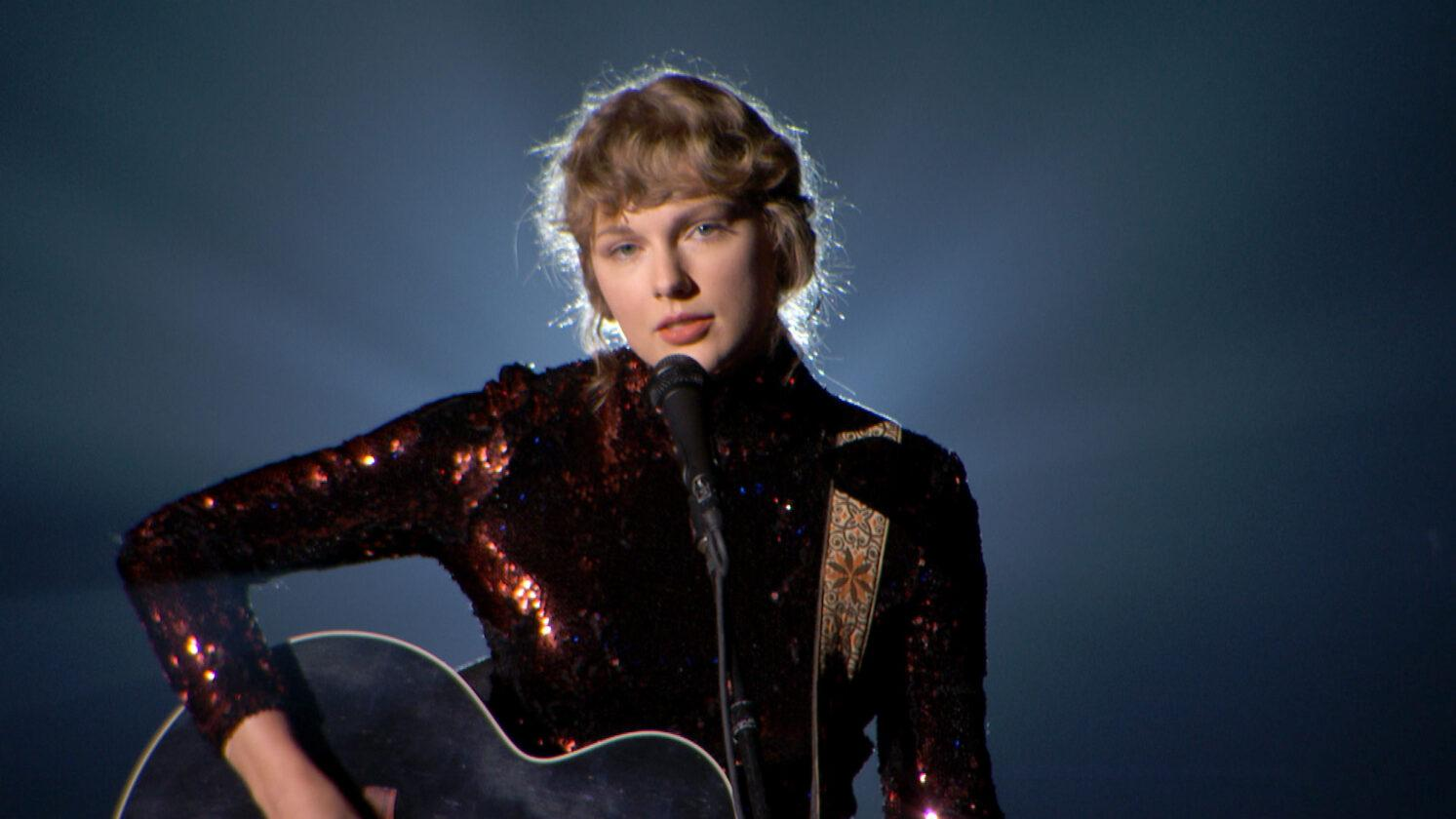 """Taylor Swift performing """"Betty"""" at the 55th Academy of Country Music Awards on Sept. 16, 2020"""