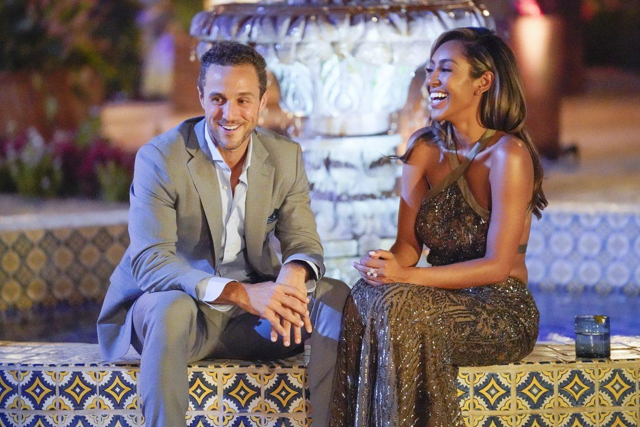 Tayshia Adams and Zac C. on her first night as the new Bachelorette on