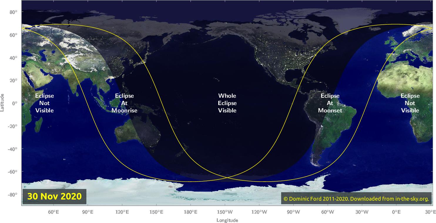Cette carte d'In-The-Sky.org montre la zone de visibilité de l'éclipse lunaire pénombre du 30 novembre 2020.