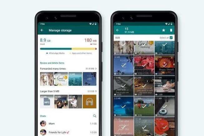 WhatsApp vous permet de trouver et de supprimer plus facilement des photos et des vidéos de votre mobile avec son nouveau gestionnaire de stockage
