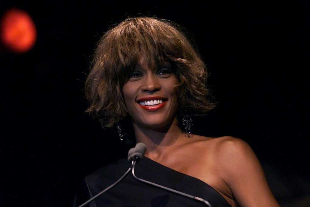 Whitney Houston speaks onstage at the Songwriters Hall of Fame Awards