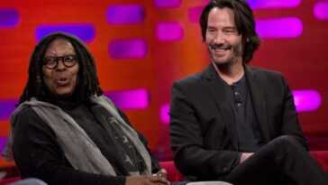 Whoopi Goldberg and Keanu Reeves during the filming of The Graham Norton Show