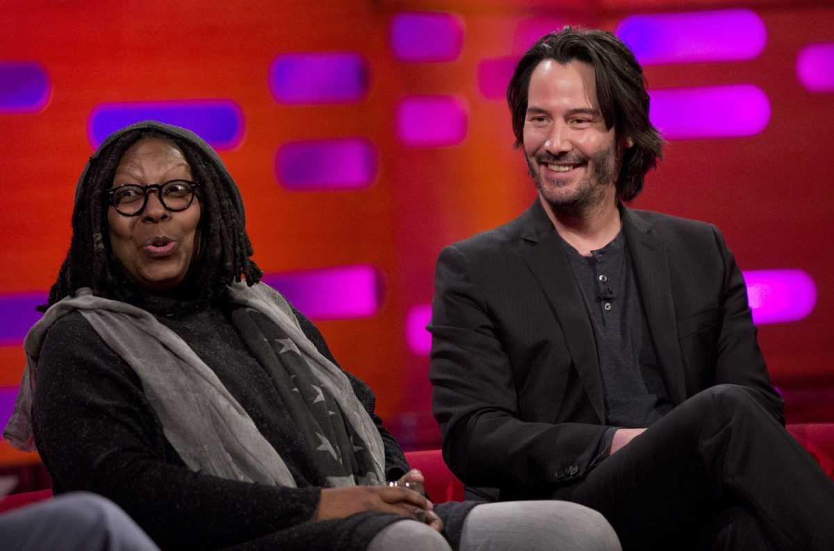 Whoopi Goldberg et Keanu Reeves pendant le tournage de The Graham Norton Show