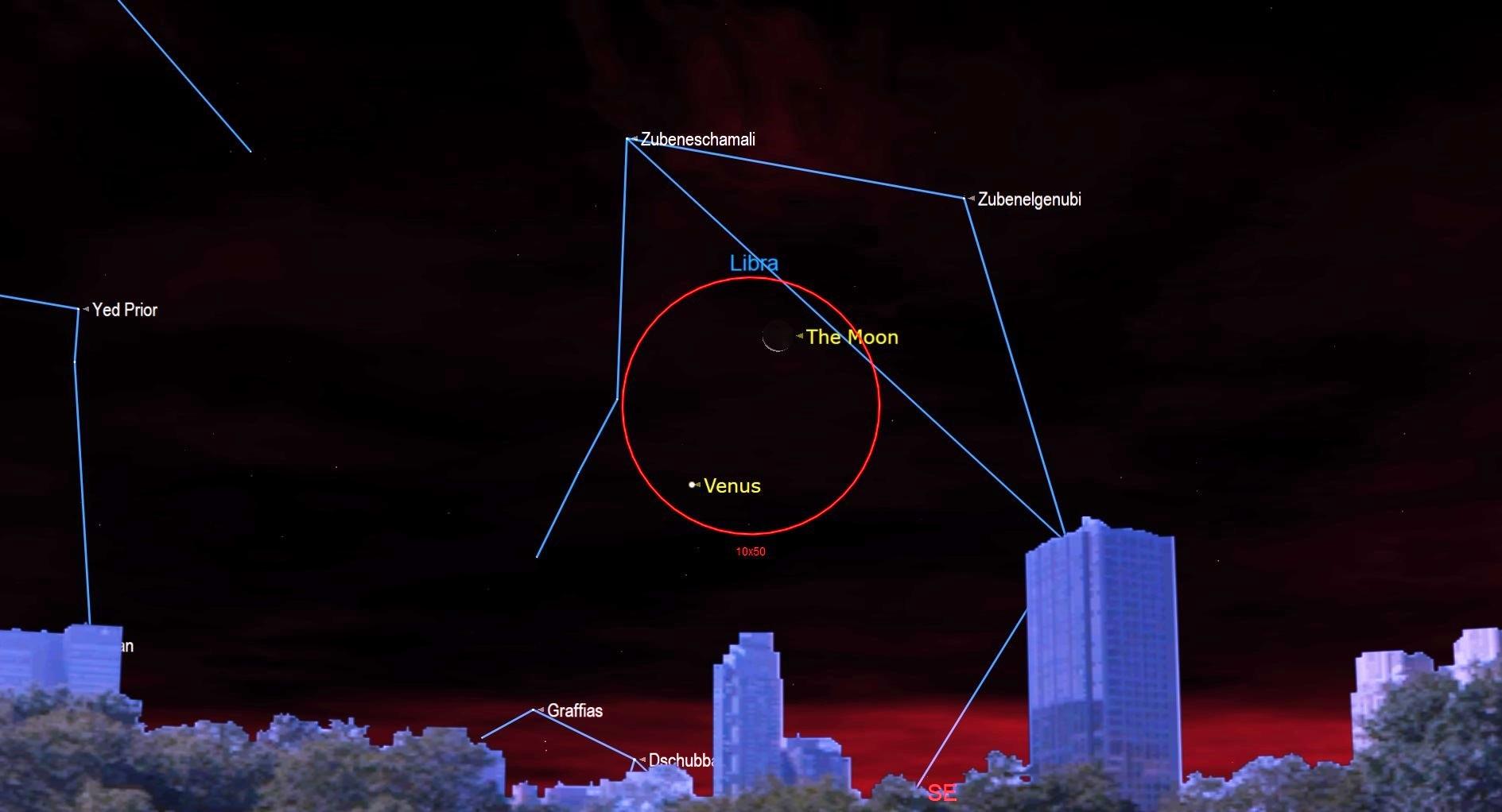 ciel nocturne décembre 2020 Vieille lune près de Vénus