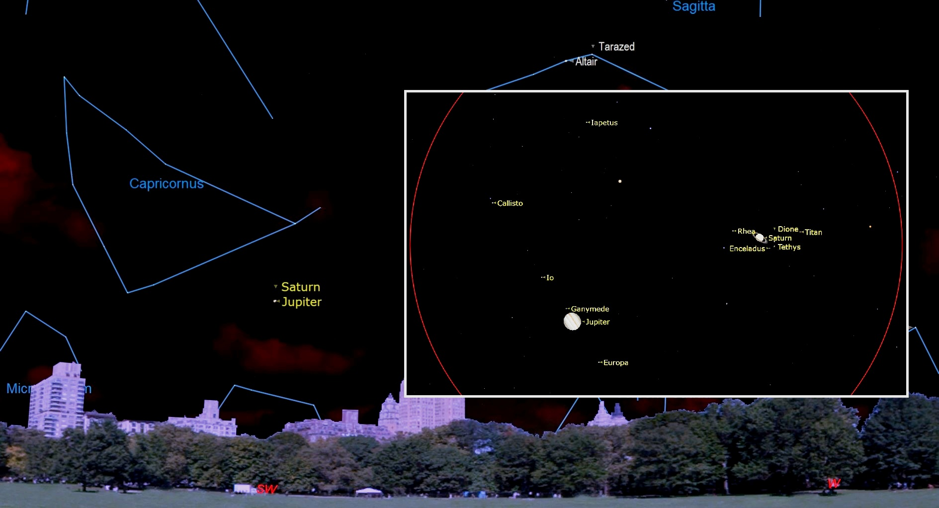 ciel nocturne décembre 2020 Grande conjonction de Jupiter et Saturne