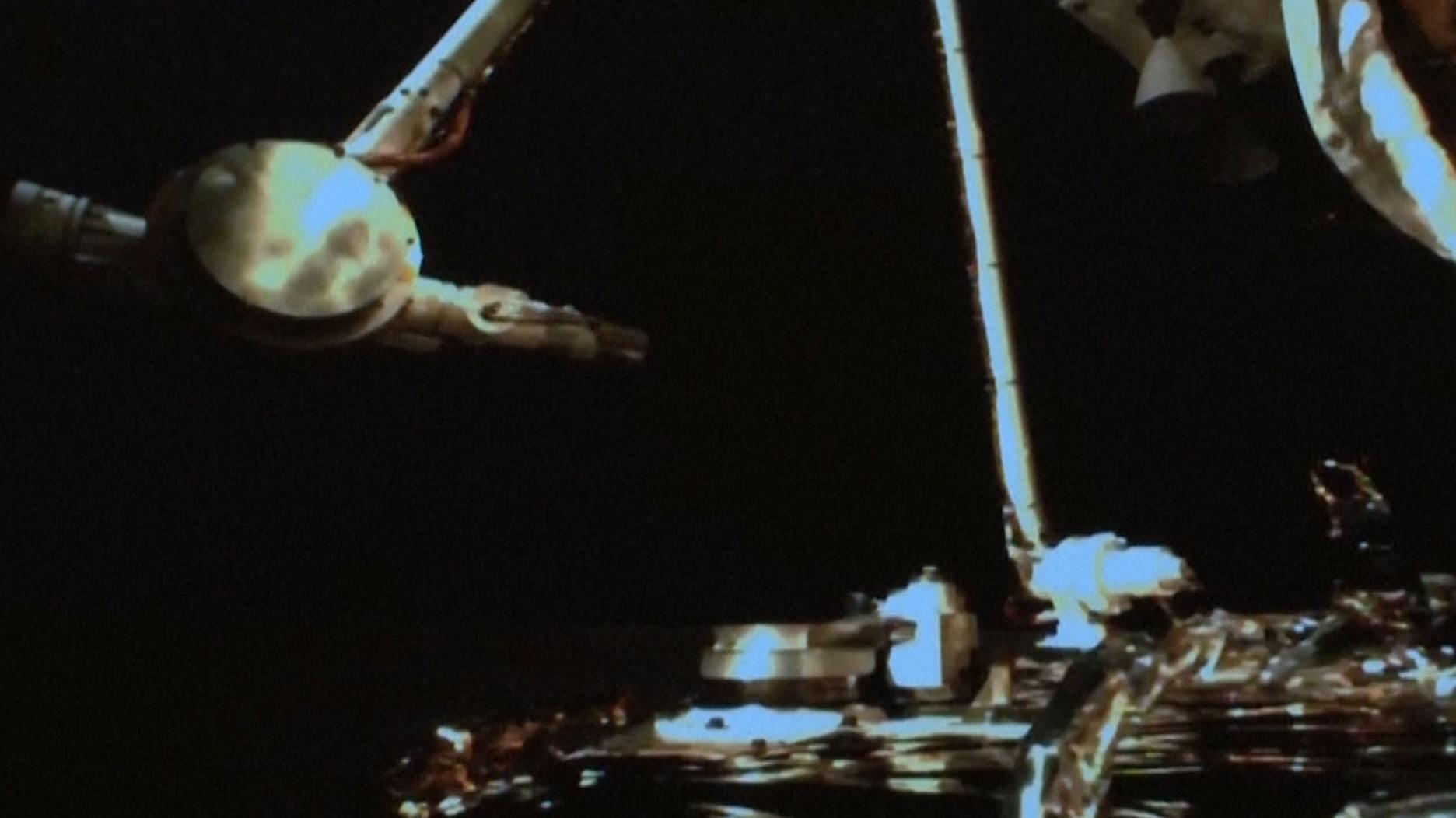 L'atterrisseur lunaire chinois Chang'e 5 a utilisé ce bras robotique pour collecter des échantillons de la lune à Mons Rumker dans l'océan des tempêtes de la lune le 1er décembre 2020.
