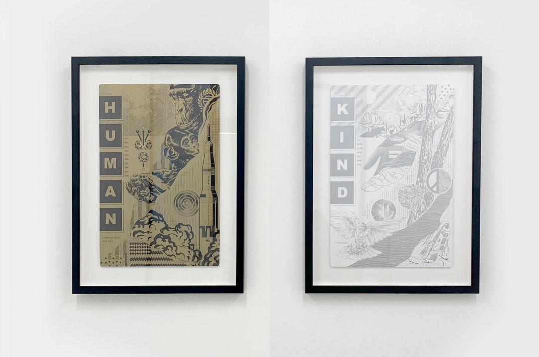"""Édition ouverte de Tristan Eaton """"Genre humain"""" Les tirages d'art sur papier SpaceX sont livrés par lot de deux en encres métalliques dorées (à gauche) ou argentées."""