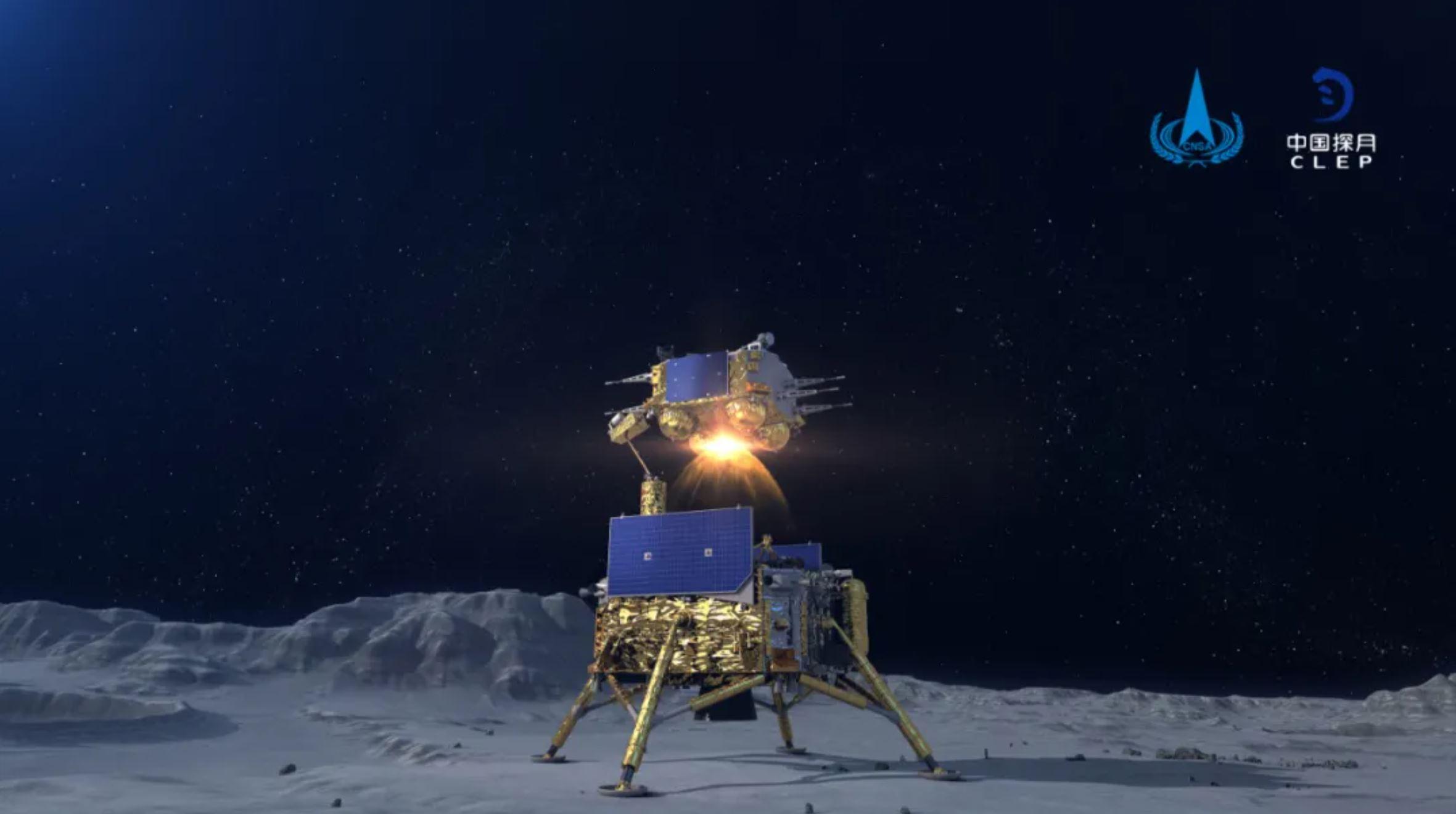 Illustration d'un artiste du véhicule chinois d'ascension à retour d'échantillons de lune Chang'e 5 décollant de la surface lunaire.