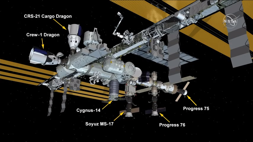 L'arrivée de la mission Dragon CRS-21 de SpaceX marque la première fois que deux Dragons sont amarrés à la Station spatiale internationale.