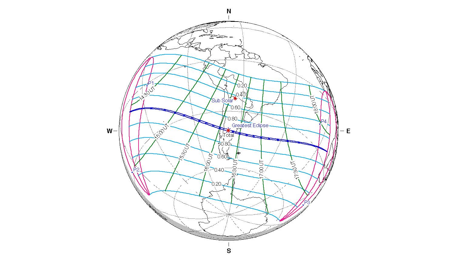 Une carte de l'éclipse solaire totale du 14 décembre 2020.