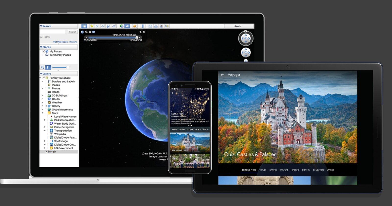 Les différentes versions de Google Earth disponibles