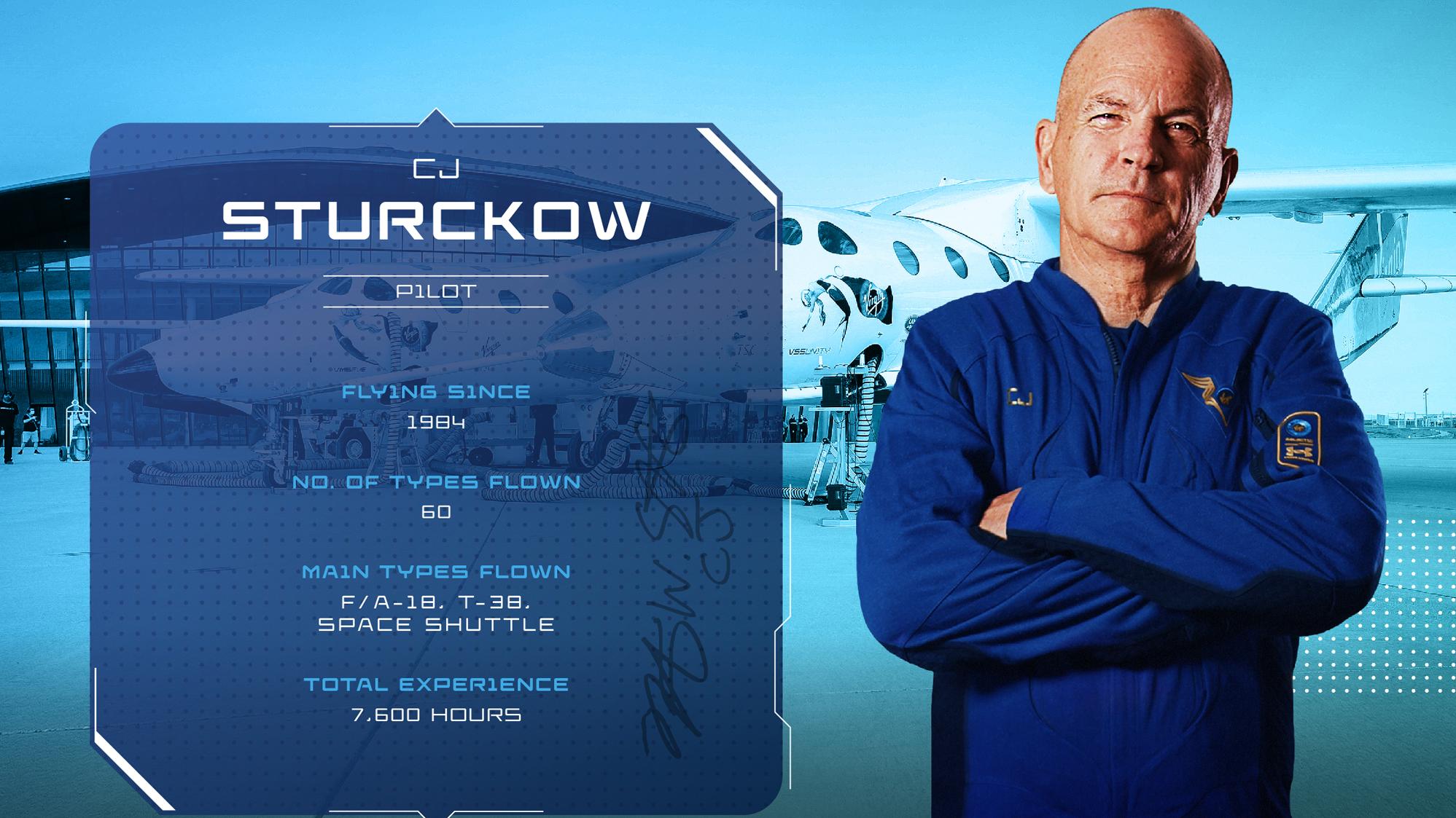 Le pilote de Virgin Galactic SpaceShipTwo Unity CJ Sturckow, ancien astronaute de la NASA et commandant de la navette spatiale.