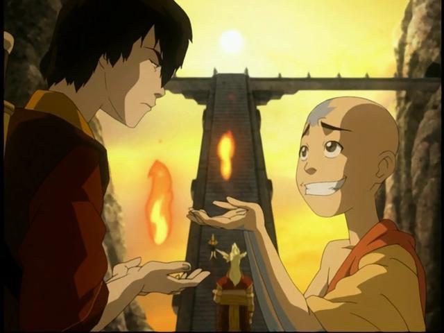 Aang a dû faire un tour avec Zuko pour contrôler le feu (Photo: Nickelodeon)