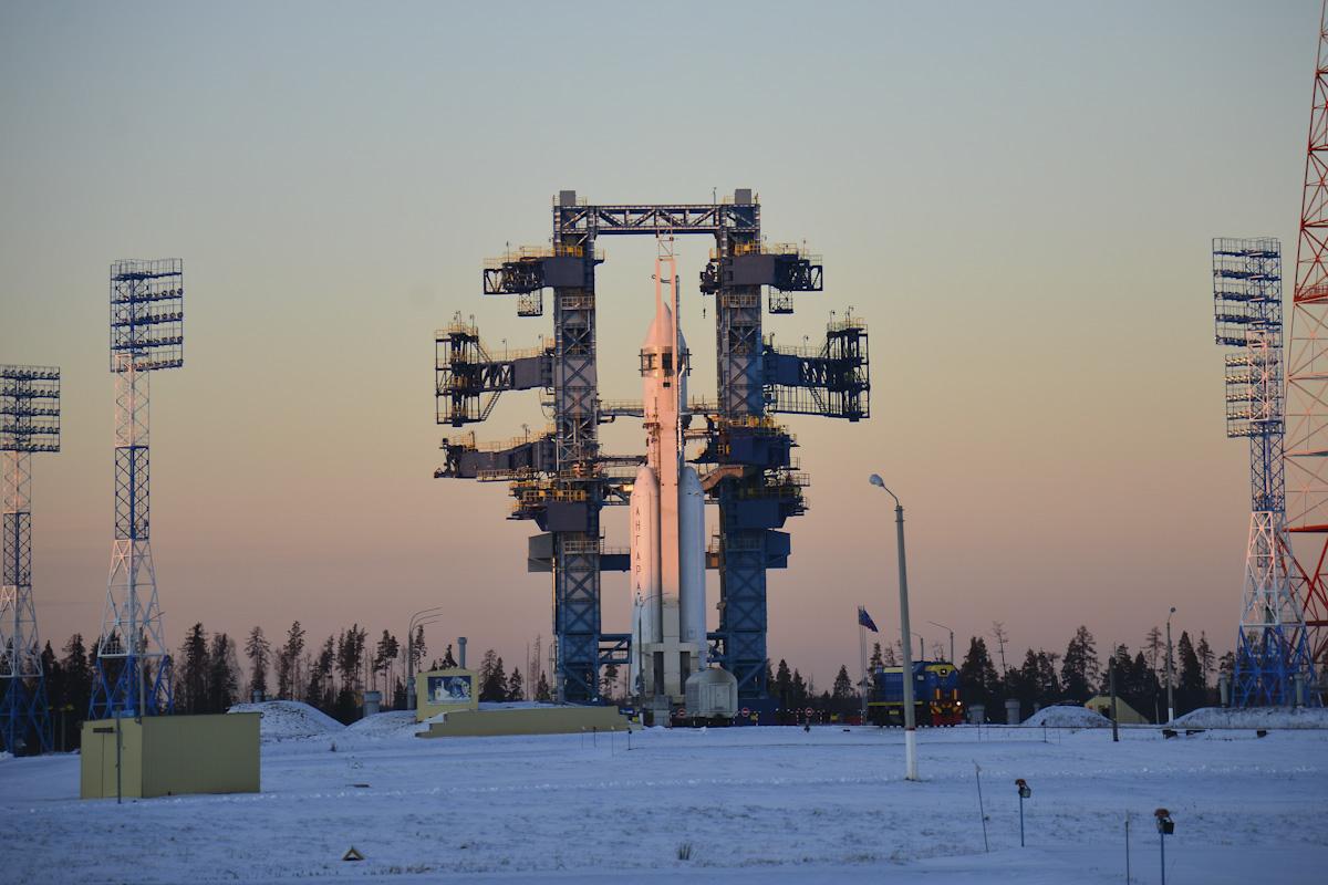 Une fusée russe Angara-A5 est prête pour son deuxième vol d'essai depuis le cosmodrome de Plesetsk, dans le nord de la Russie.
