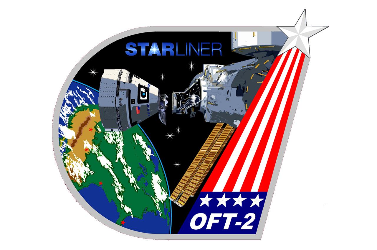 Le patch des opérations de mission du test en vol orbital 2 de Boeing représente les contrôleurs de vol de la NASA qui superviseront la mission.