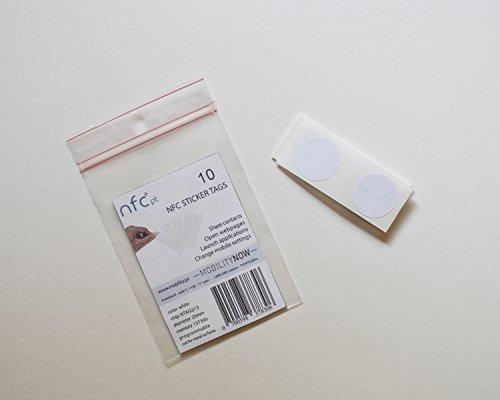NFC STICKER TAG NXP NTAG213 chipset 10 pack!  25 mm, rond, blanc, enduit PVC.  Compatible avec Samsung Galaxy S8, iPhone 8 et autres téléphones Android et Windows compatibles NFC