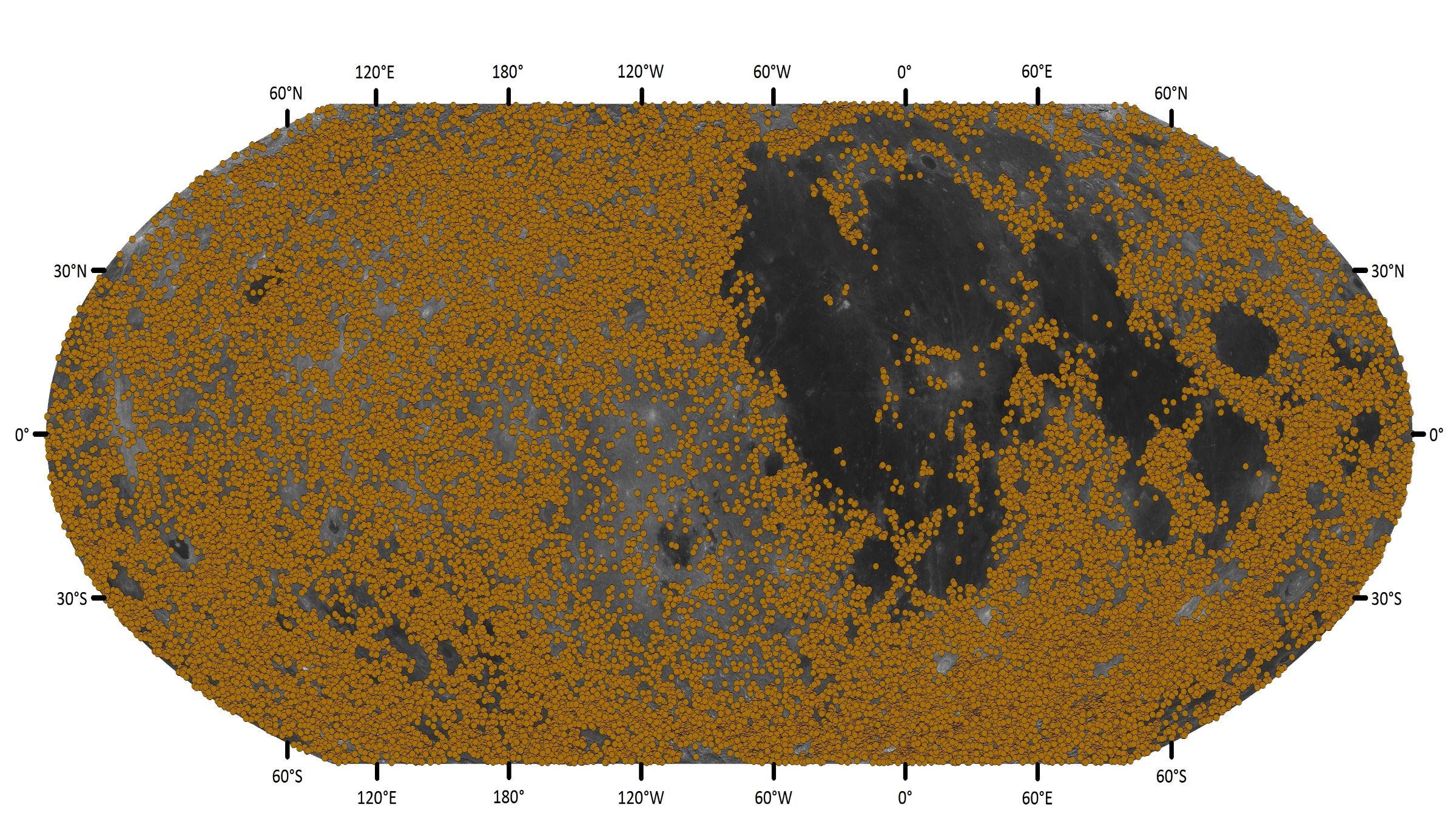 Les nouveaux cratères découverts sur la lune
