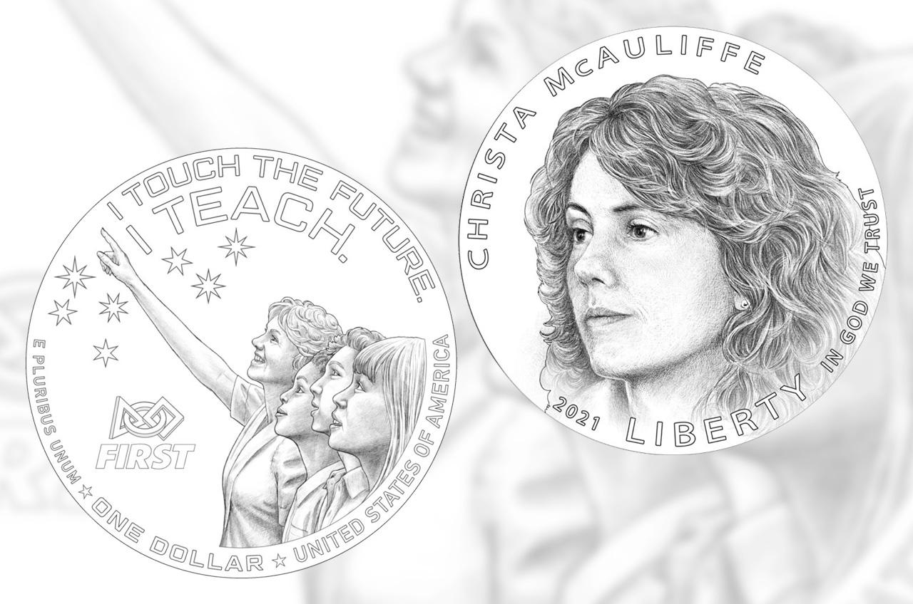 """L'avers (en haut) et le revers du dollar en argent Christa McAuliffe 2021 de la Monnaie américaine représentant les morts de la NASA """"Enseignant dans l'espace"""" et son héritage, continuant d'inspirer les étudiants."""