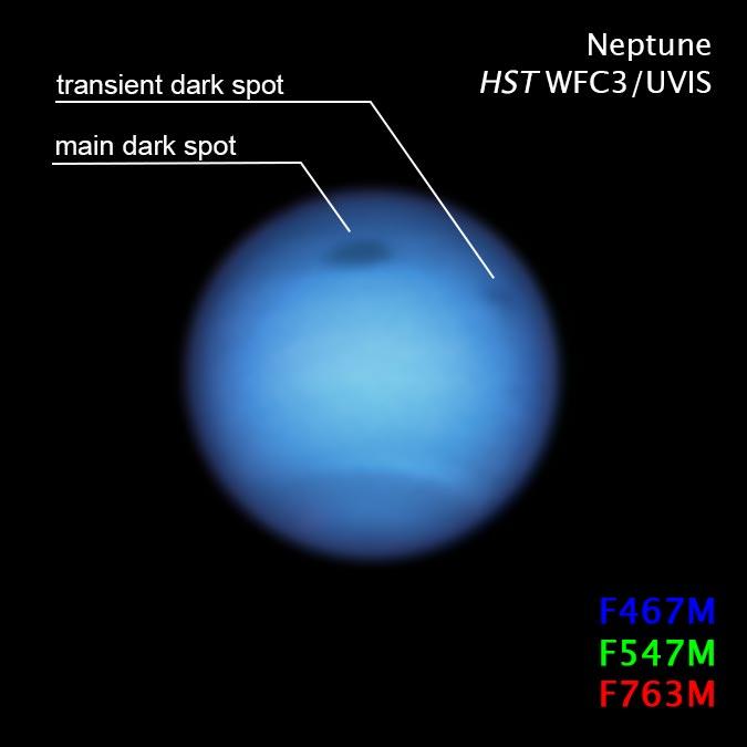 Hubble a repéré pour la première fois une grosse tempête sur Neptune en 2018. Récemment, le télescope a également trouvé une seconde tempête plus petite.