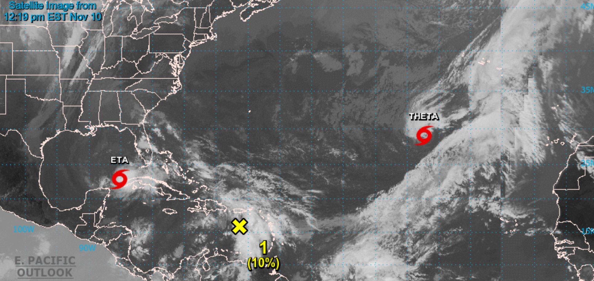 La tempête tropicale Theta s'est formée dans l'Atlantique Est lundi (9 novembre).  La tempête tropicale mortelle Eta (anciennement un ouragan) est toujours active dans le golfe du Mexique.