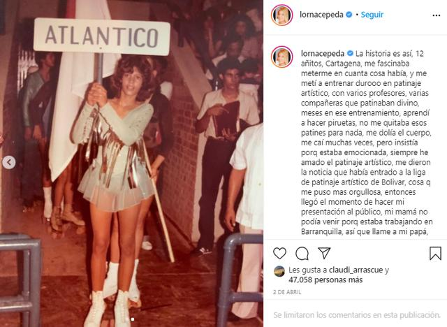 Lorna Cepeda lorsqu'elle a participé à un concours de patinage artistique (Photo: Instagram)