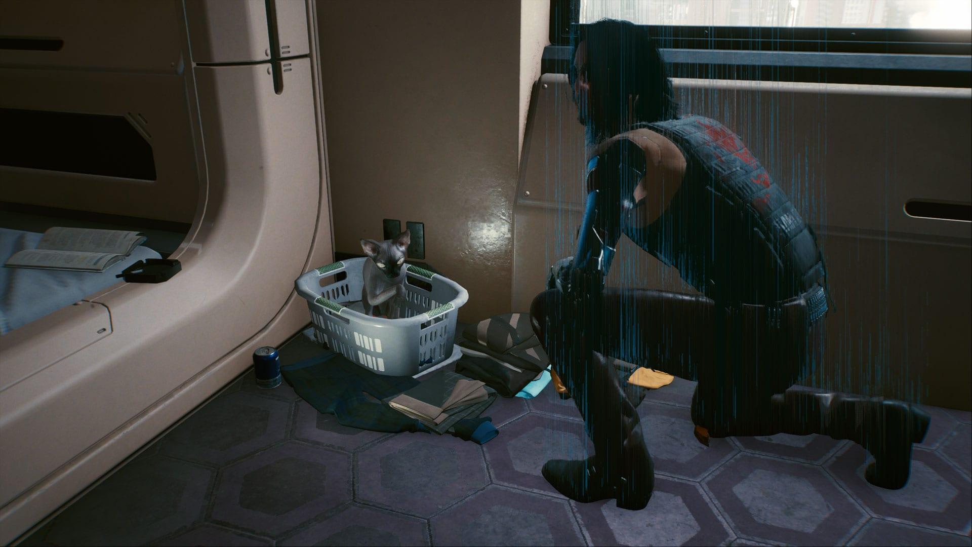 Cyberpunk 2077 - chat dans l'appartement