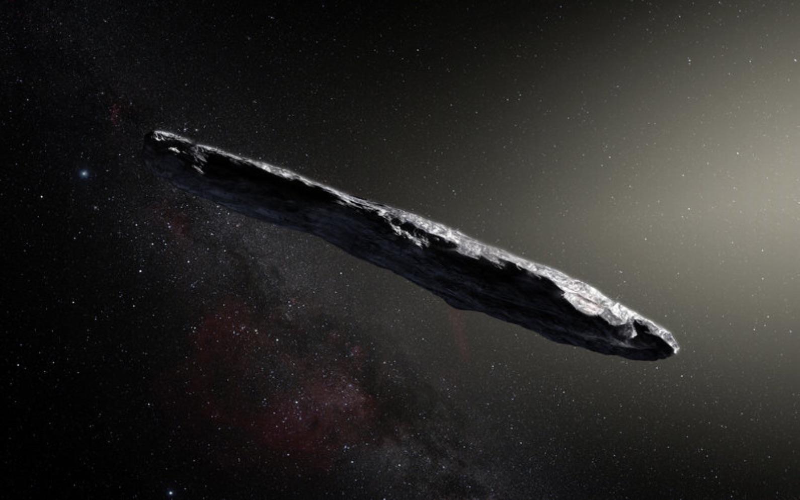 Représentation par un artiste du premier objet interstellaire identifié, «Oumuamua.