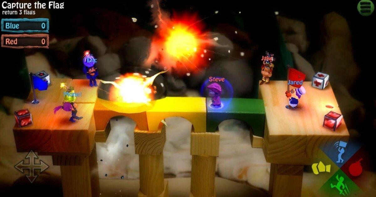 Caricature sur des blocs de bois dans un combat d'explosifs.