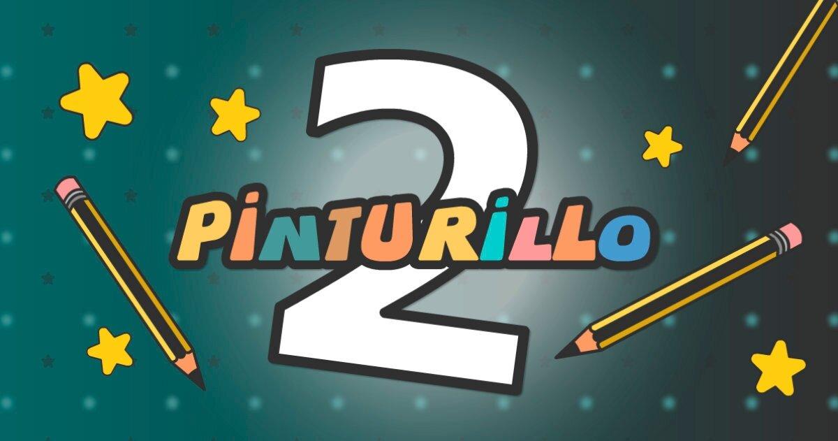 Fond vert avec le mot pinturillo en couleurs avec des étoiles et des crayons autour