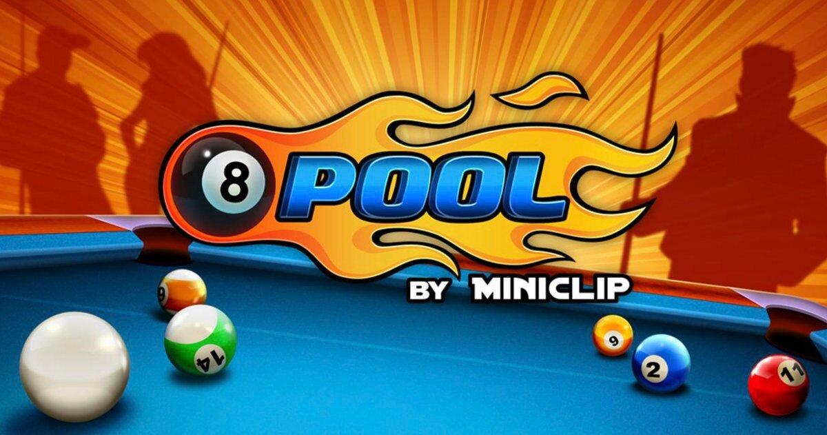 Table de billard avec les 8 balles dessus et l'ombre de 3 joueurs en arrière-plan.