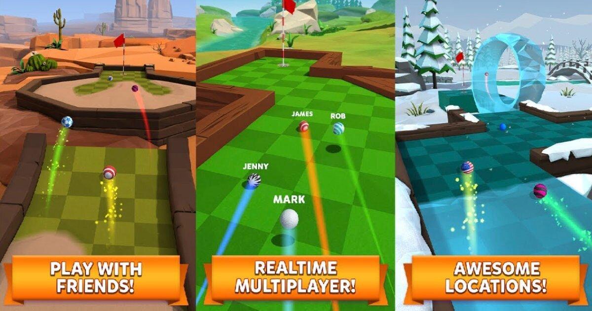 Parcours de golf avec 4 balles à pleine vitesse dans 3 décors différents: désert, forêt et glacier.