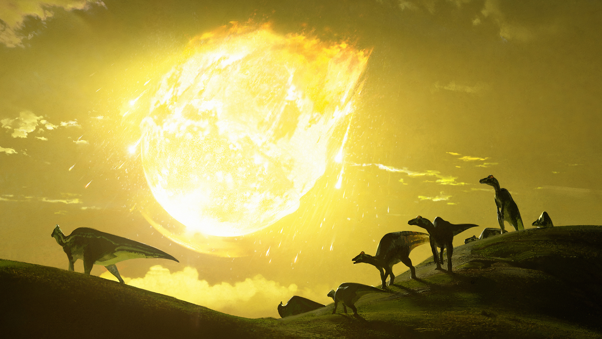 Œuvre originale illustrant le moment où l'astéroïde a frappé il y a 66 millions d'années, dans l'actuel Mexique.