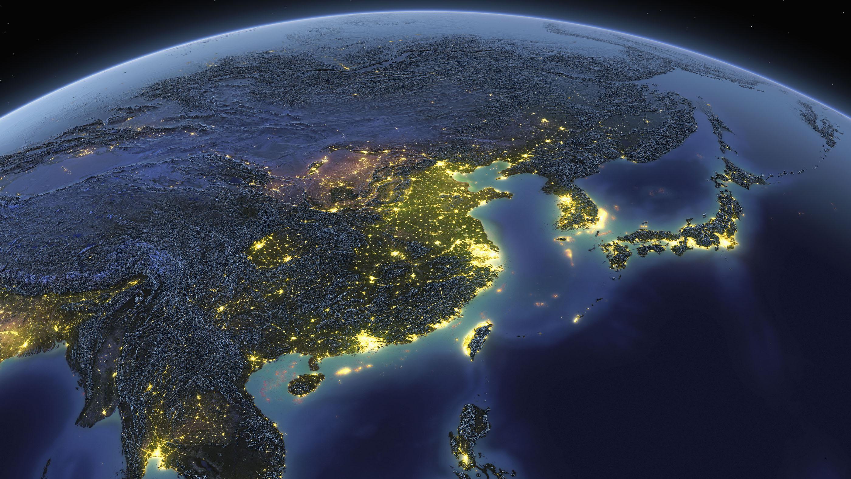 Terre d'en haut montrant la Chine et le Japon.