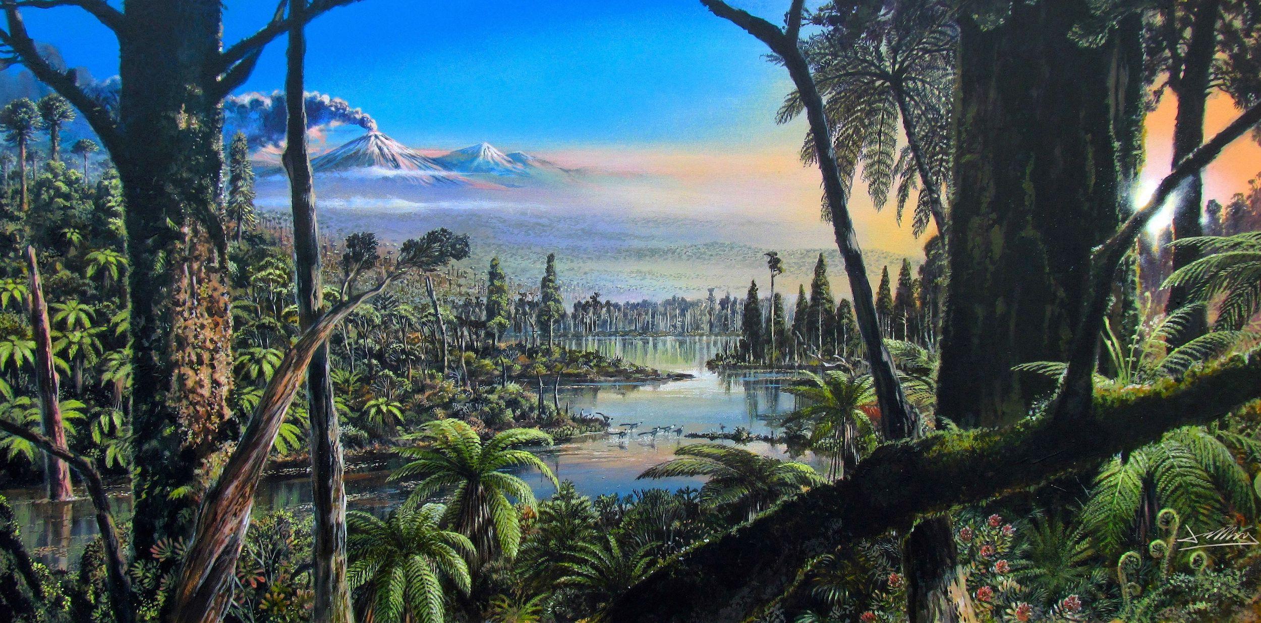 Une illustration de la forêt pluviale tempérée qui a prospéré en Antarctique occidental il y a environ 90 millions d'années, lorsque les dinosaures marchaient encore sur la Terre.