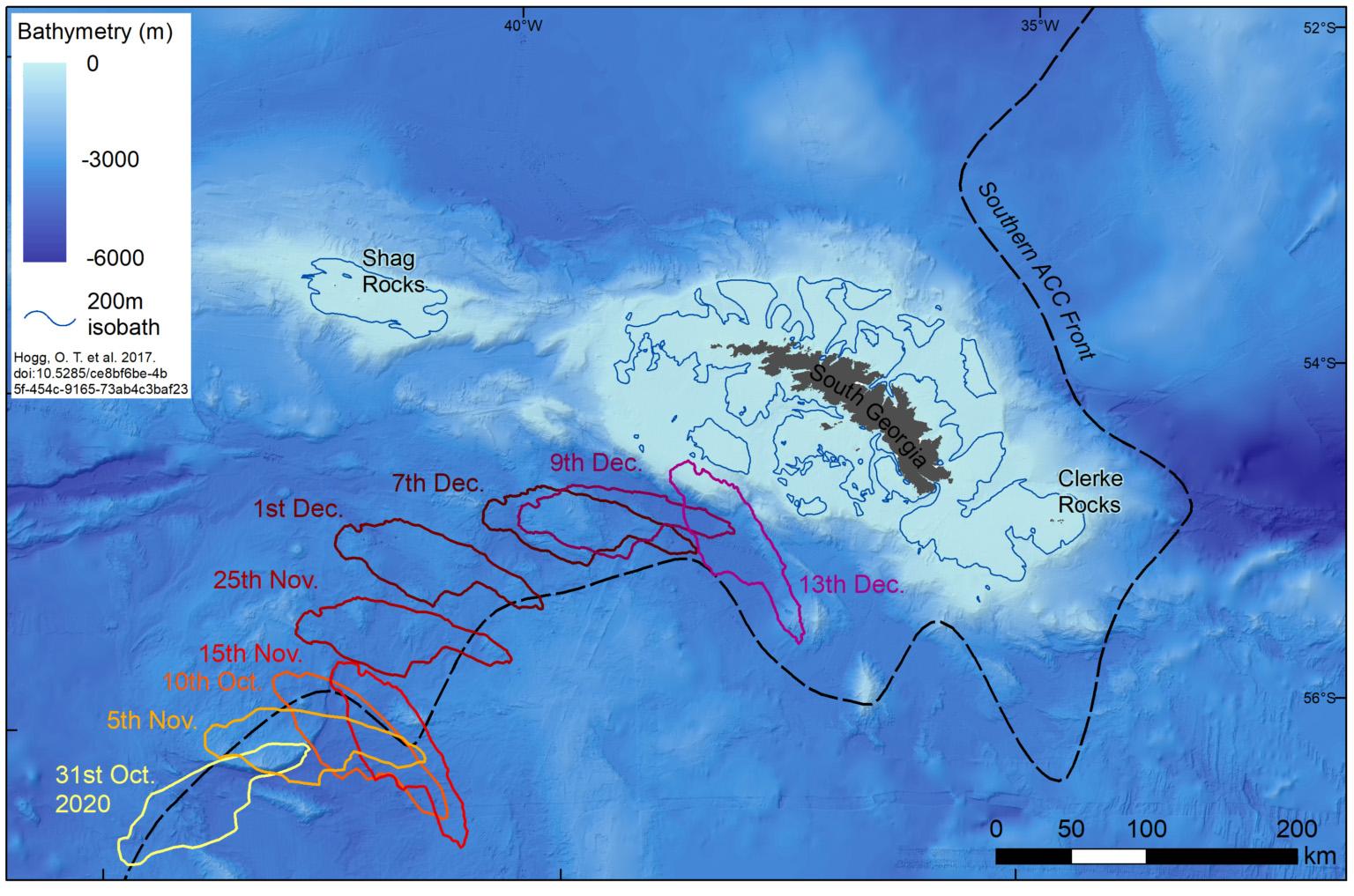 Les experts en cartographie de British Antarctic Survey suivent la route de l'iceberg A-68a à partir d'images satellitaires.