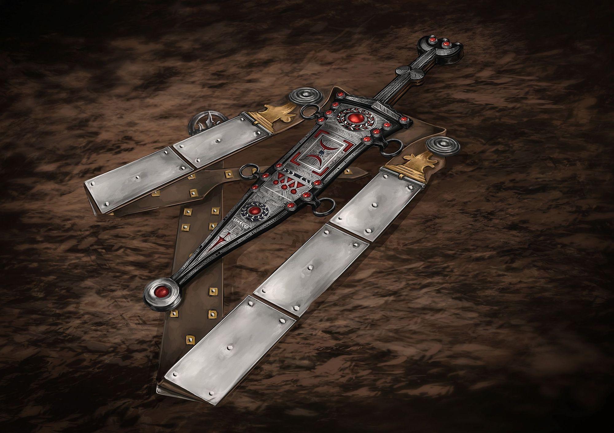 Une illustration de la dague, de la gaine et de la ceinture romaines.