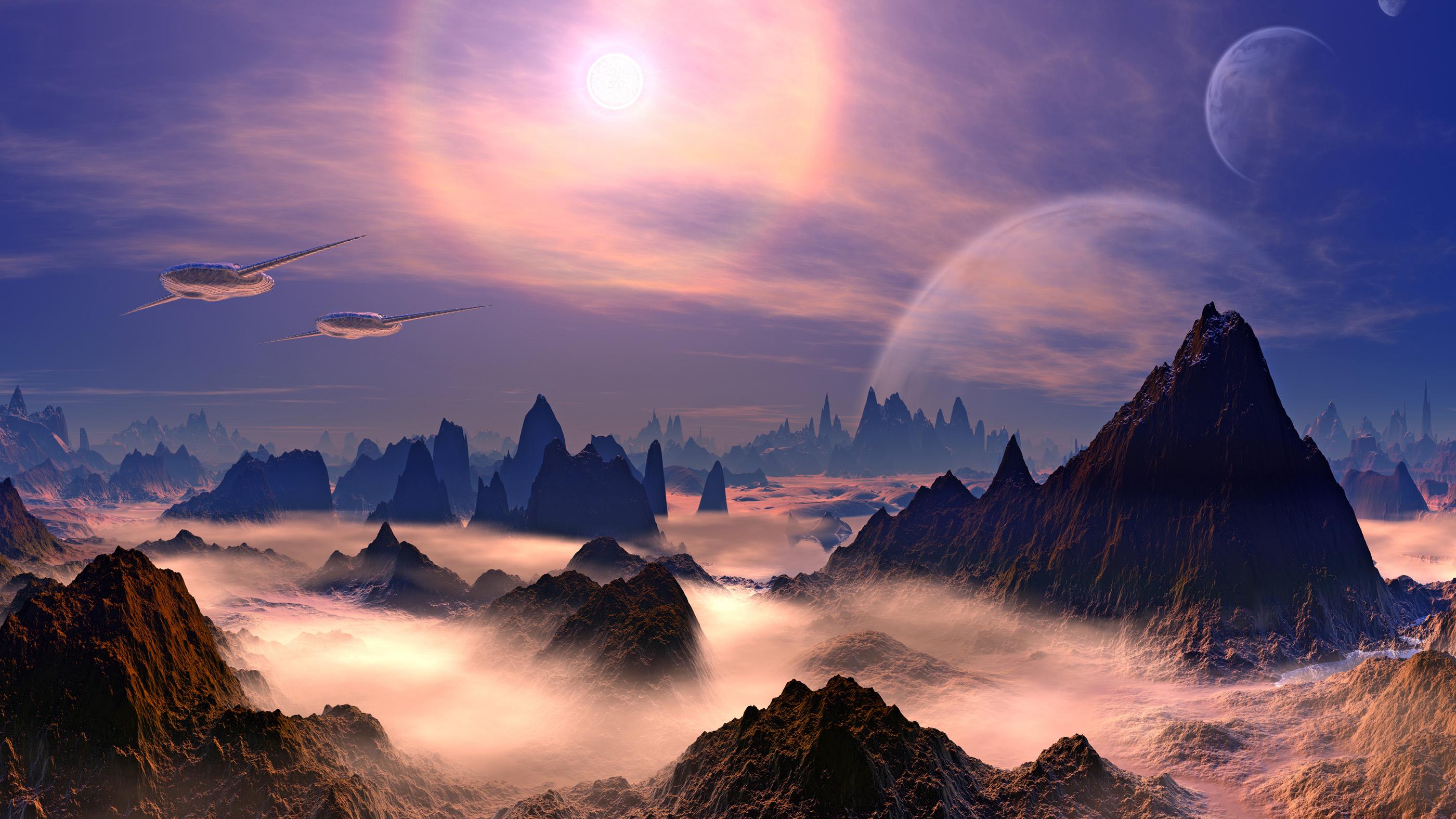 Vaisseaux spatiaux extraterrestres au-dessus de la planète rocheuse.