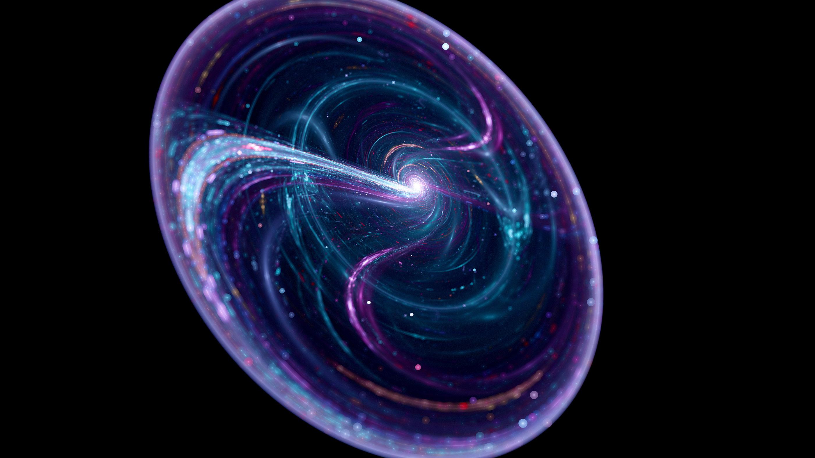 Cordes cosmiques, théorie des cordes, fond abstrait.